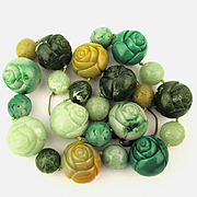 Jumbo Carved Faux Jade Lucite Flowers Bead Necklace