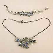 Vintage KRAMER Rhinestone Necklace - Bracelet Set