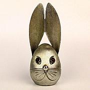 Vintage NAPIER Rabbit Bunny Head Coin Bank w/ Jewel Eyes