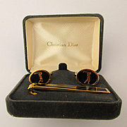 Vintage Christian DIOR Golf Cufflinks Clasp Enamel Set in Box