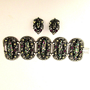 Big Heavy Confetti Lucite Bracelet w/ Clip Earrings - Wide & Jeweled