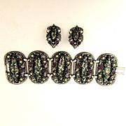 Big Heavy Confetti Lucite Bracelet w/ Clip Earrings - Wide & Jeweled