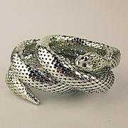 Whiting & Davis Silver Mesh Snake Bracelet Triple Wraparound
