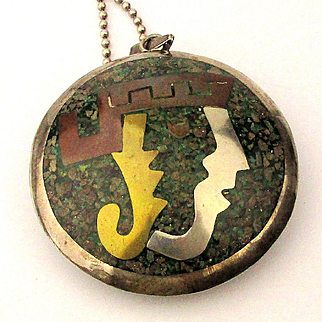 Big Old Mexican 2 Sided Face Pendant 925 Sterling w/ Chip Inlay Necklace