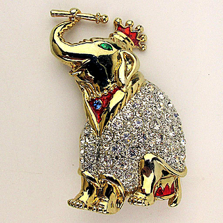 Royal Elephant King Pin Brooch Covered in Rhinestones