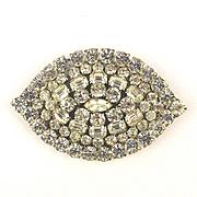 Large Vintage Rhinestone Pin Brooch 4 Inch Eye Shape