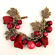 Vintage Red Lucite Charm Bracelet w/ Gilt Leaves & Bead Dangles