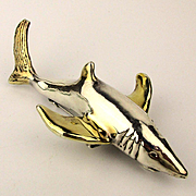 Big 5 Inch Sterling Silver SHARK Pin Pendant Signed Fish