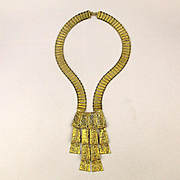 Modernist Brutalist Goldest Boldest Necklace w/ Dangles & Earrings