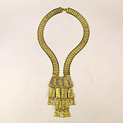Modernist Brutalist Goldest Boldest Necklace w/ Dangles & Earrings