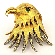 Pauline Rader Layered Eagle Head Pin Brooch w/ Rhinestones