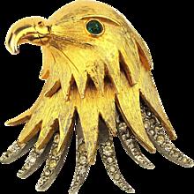 Pauline Rader Layered Eagle Head Pin Brooch w/ Rhinestones