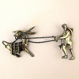 Early 2-Part Mexican Pin Sterling Silver Man w/ Stubborn Mule