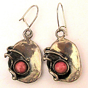 Modernist Sterling Silver Coral Handwrought Earrings Pierced