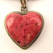 Vintage 925 Rhodonite Heart Pendant on Sterling Silver Omega Chain