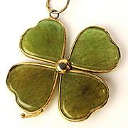 Lucky Gold-Filled Jade Shamrock Four Leaf Clover Pendant Necklace