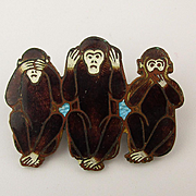 Old Wee 1920s Enamel Pin - Three Wise Monkeys - See Hear Say No Evil