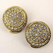 Vintage Christian Dior Faux Diamond Clip Earrings