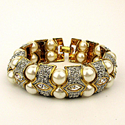 Wide Thick Crystal Rhinestone & Faux Pearl Bracelet