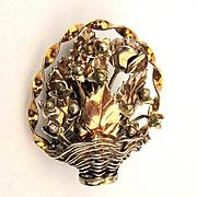 Vintage Hobé Pin Brooch - Sterling & 14K Gold Hobe Floral Basket