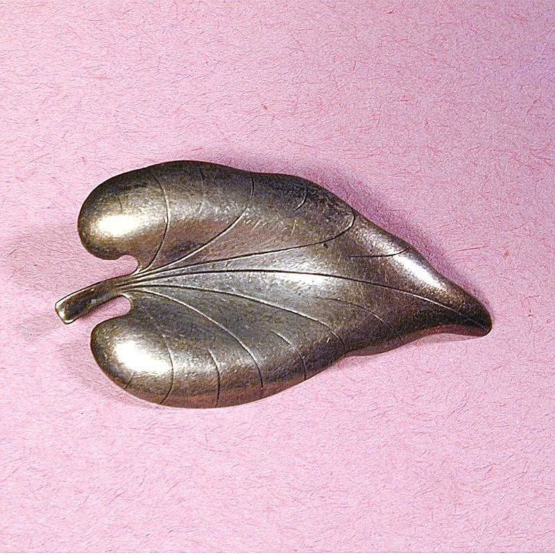 Modernist Scandinavian Pin - Hermann Siersbol Denmark Sterling Silver Leaf Brooch