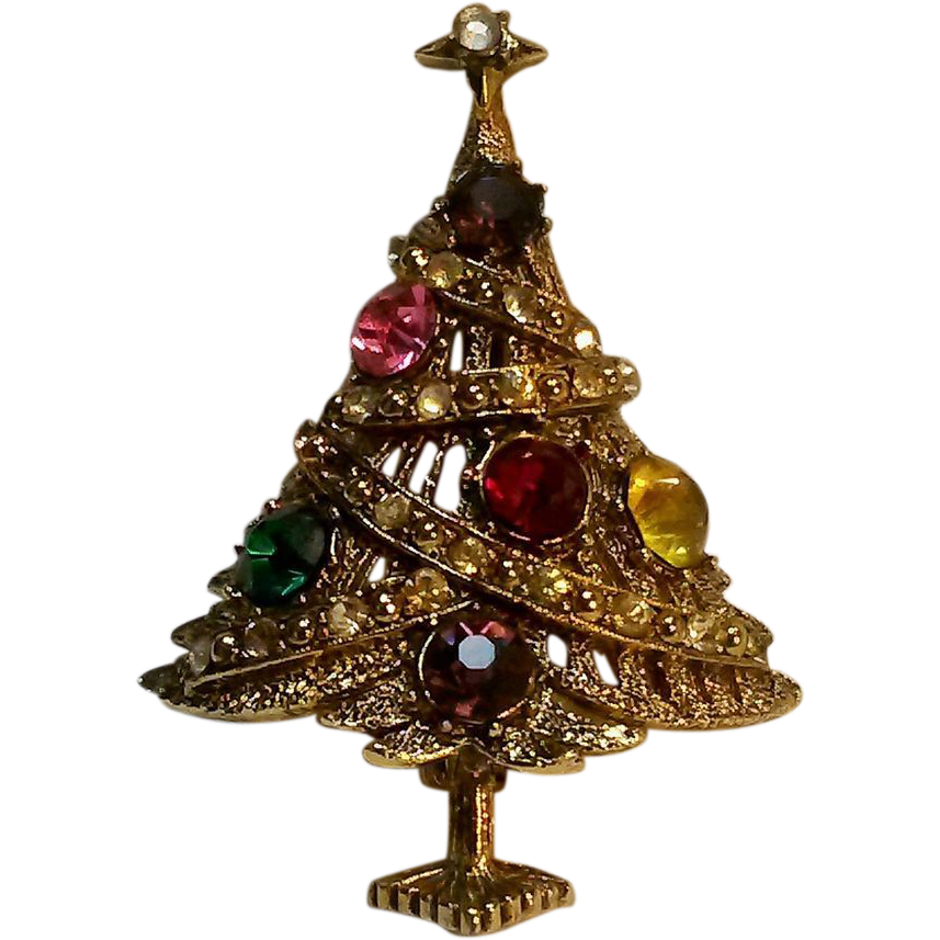 Hollycraft christmas tree pin sold on ruby lane for Christmas tree items list