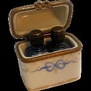 Limoges perfume casket blue bottles