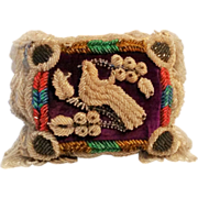 Antique Iroquois beaded bird pillow pin cushion