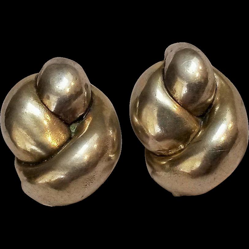 Sterling electroform clip earrings GW knot motif