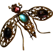 Antique filigree brass bug fly pin satin glass cabochon stones