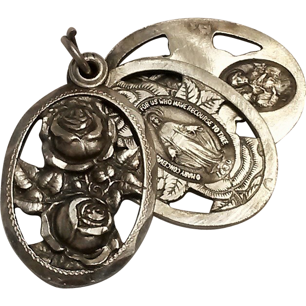 sterling devotional slide charm pendant medal cut work