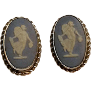 Van Dell sterling Wedgwood jasperware earrings Dancing Hours blue white