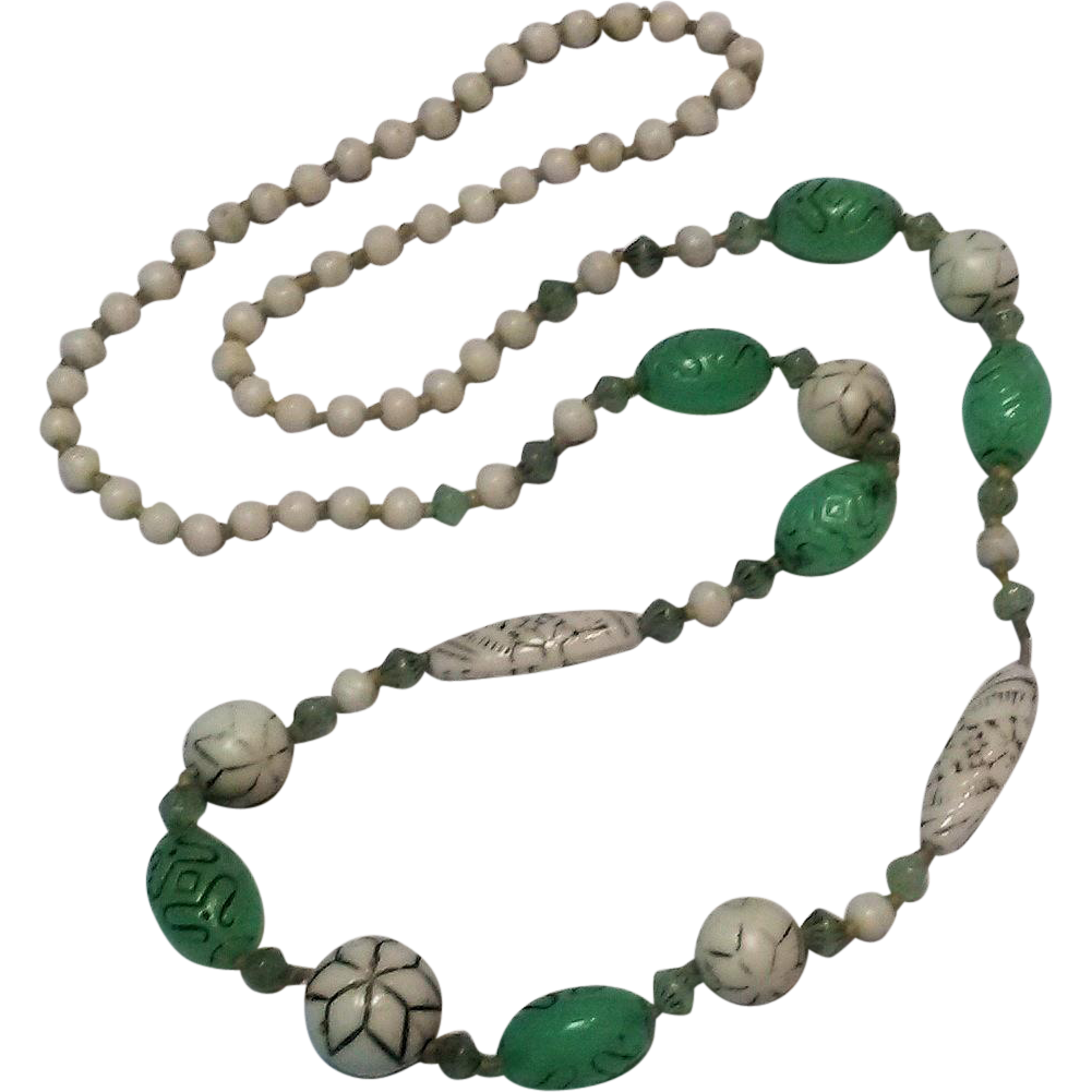 czechoslovakia glass bead necklace green white sold on