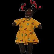 Brown cloth little girl doll black Americana hand made