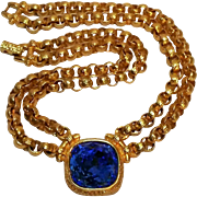 Swarovski signed necklace blue cushion crystal double rolo chain