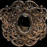 Danecraft sterling cuff bracelet scrollwork hematite stone