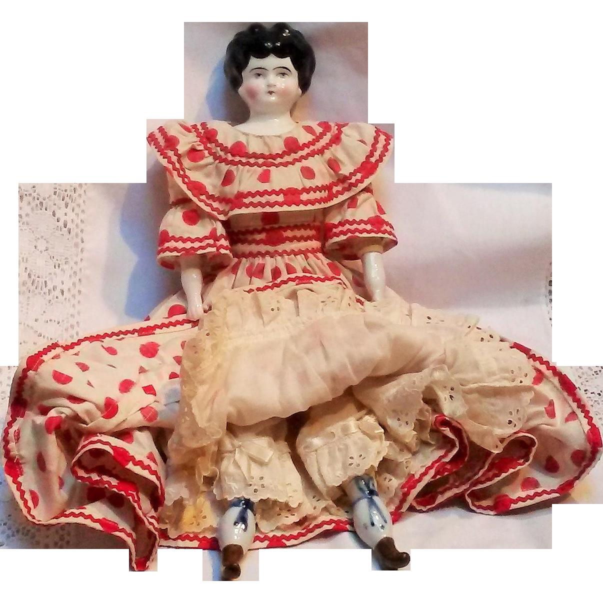 "China head doll Germany  cloth body 14 1/2"" red polka dot dress"