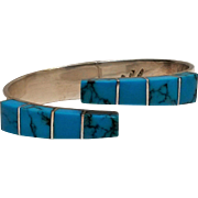 Taxco sterling hinged cuff bracelet Howlite TL-88