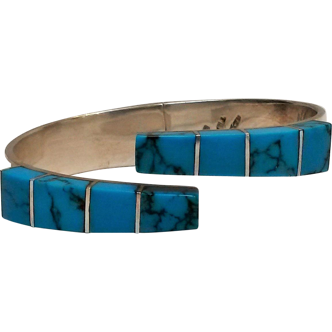 Taxco sterling hinged cuff bracelet blue stone