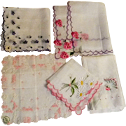 Handkerchief lot embroidered cotton Switzerland pansy daisy rose violets