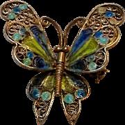 800 Silver filigree enamel butterfly pin Italy