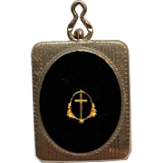 Miniature  rosary case pendant black enamel gold cross chrome plated
