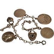 Sterling charm bracelet puffy heart padlock Lords prayer lamp of knowledge
