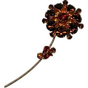 "Rhinestone flower pin 4 3/8"" long"