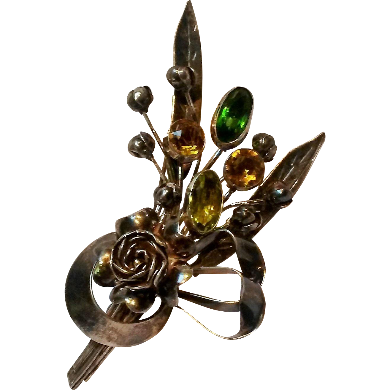 Hobe 1940's Sterling rose buds bow bouquet pin bezel set stones