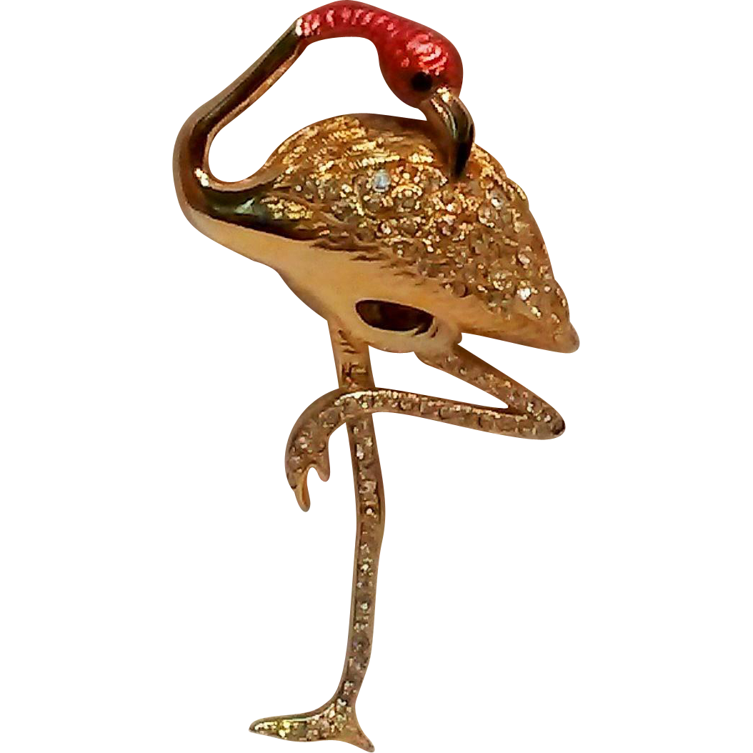 Signed Swarovski Flamingo pin pink enamel head