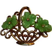 Trifari fruit salad basket of flowers pin green