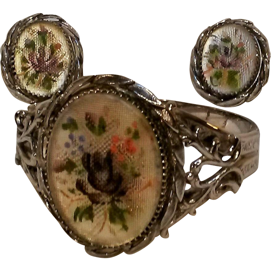Whiting Davis glass petit point bracelet clip earrings set