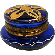 Cobalt Bohemian glass rouge pot vanity box enamel gilt decoration