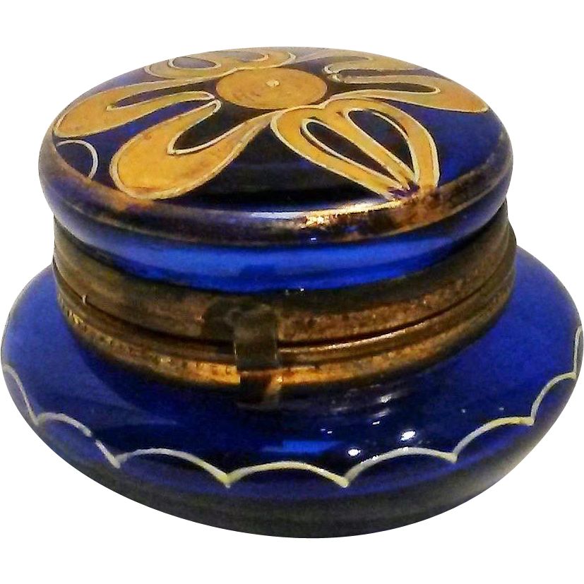 Cobalt Bohemian glass rouge pot vanity box enamel gilt decoration